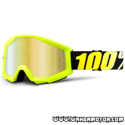 Goggles 100% Strata neon yellow mirror gold