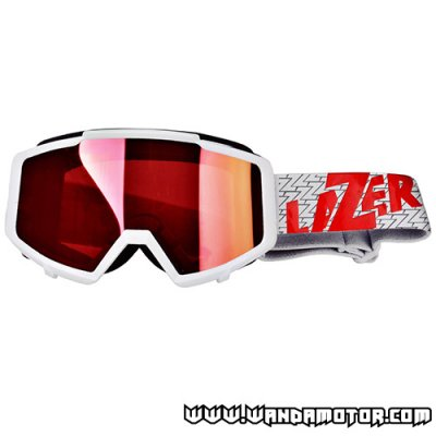 Lazer Track ajolasit white/red w/ mirrored lens